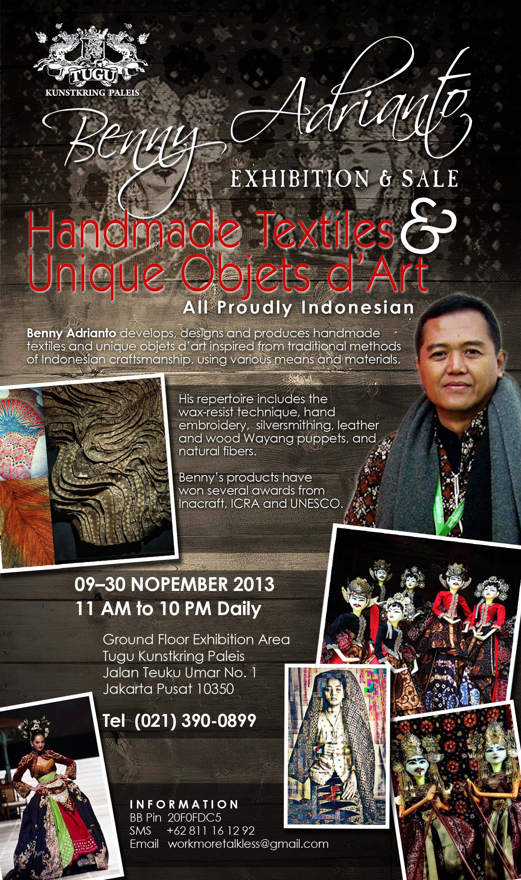 benny adrianto exhibiton & sale - handmade textiles & unique objects d'art at tugu kunstkring paleis