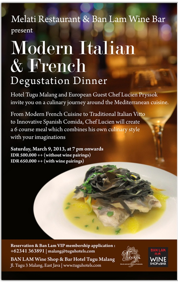 modern italian & french degustation dinner at melati restaurant & ban lam wine bar