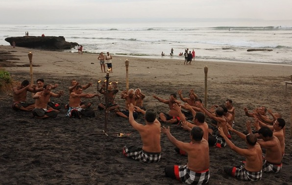 kecak dance performed at tugu beach