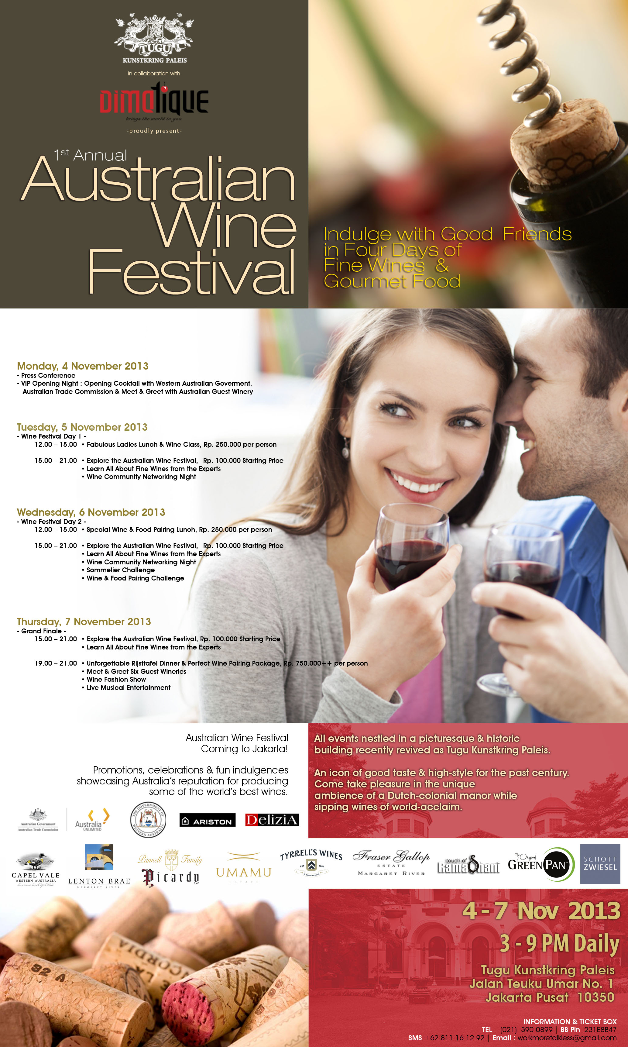 dimotique 1st annual australian wine festival at tugu kunstkring paleis