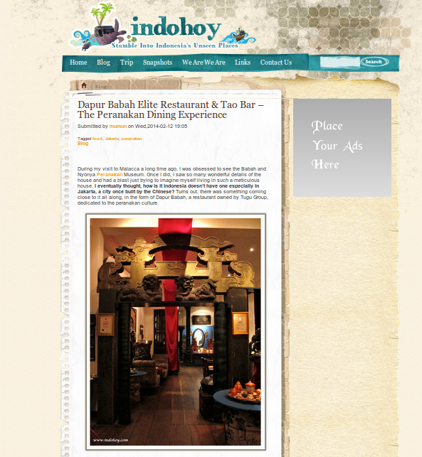 indohoy - dapur babah elite restaurant and tao bar - the peranakan dining experience