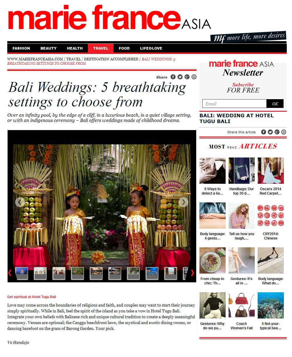 marie france asia: bali weddings - 5 breathaking settings to choose from