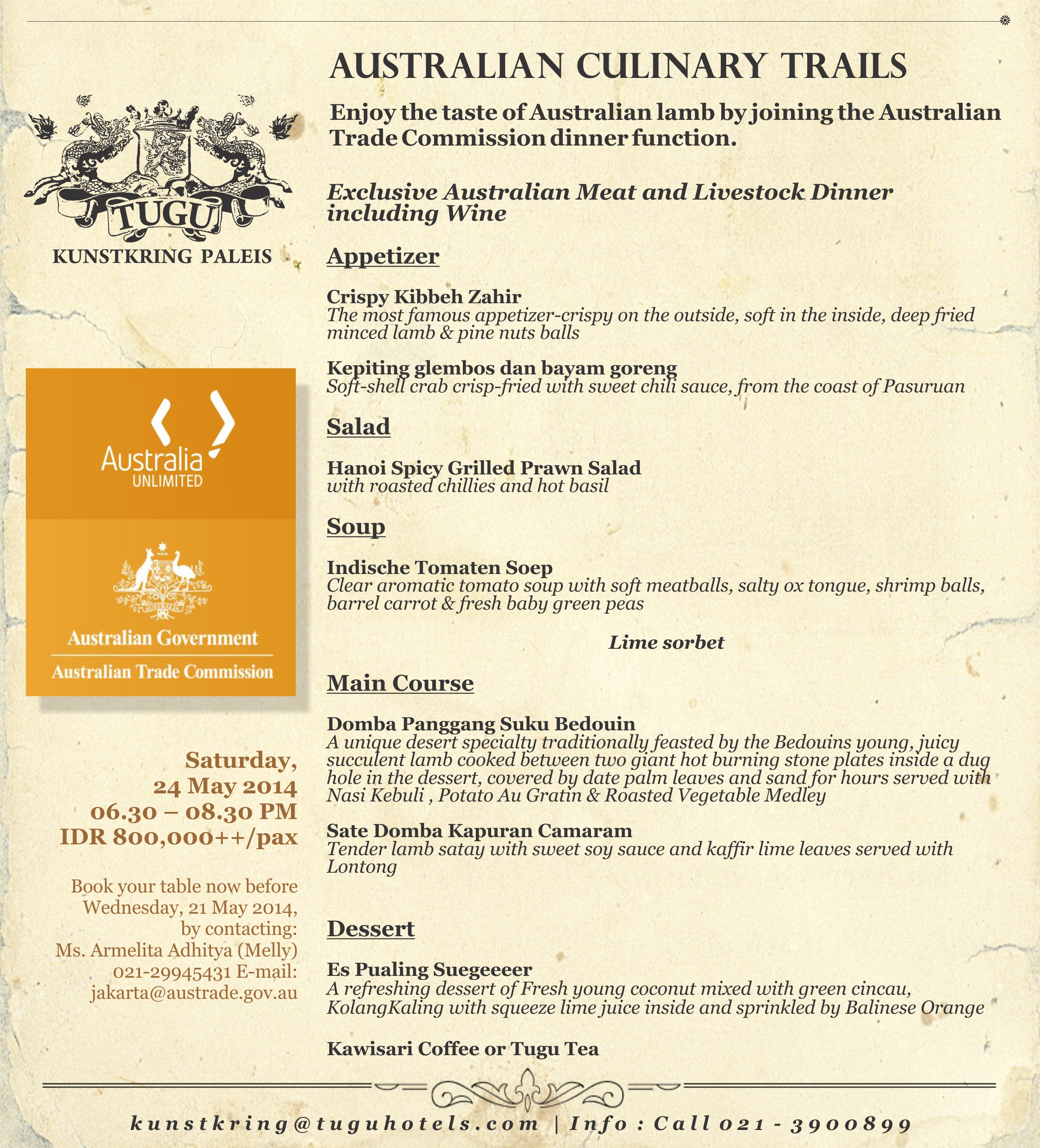 australian culinary trails at tugu kunstkring paleis