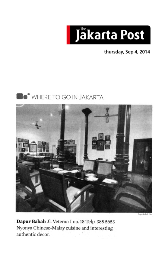"the jakarta post sept 4, 2014 - where to go in jakarta - dapurbabah ""nyonya chinese-malay cuisine and interesting authentic decor"