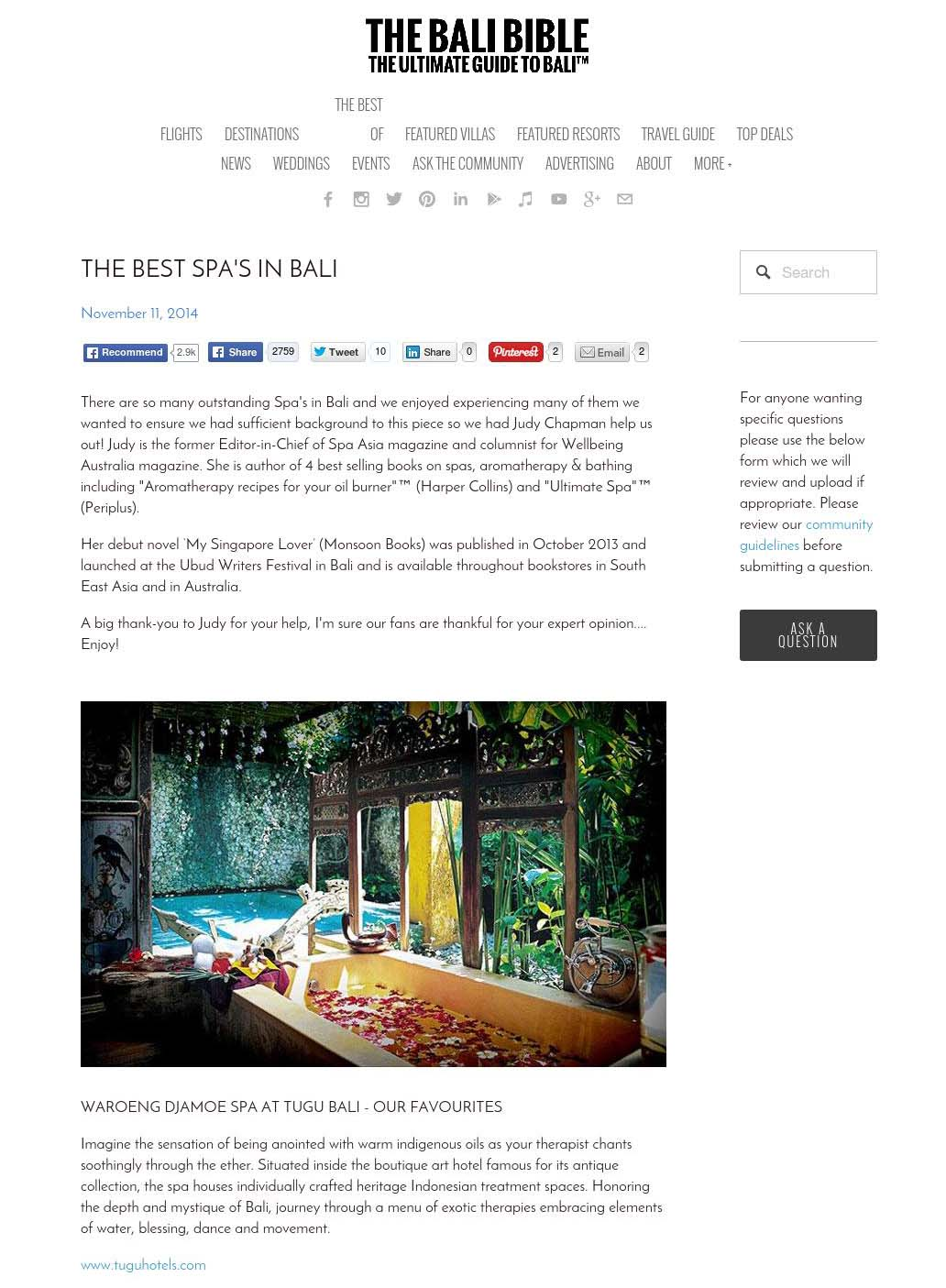 THE BEST SPA'S IN BALI - thebalibible.com