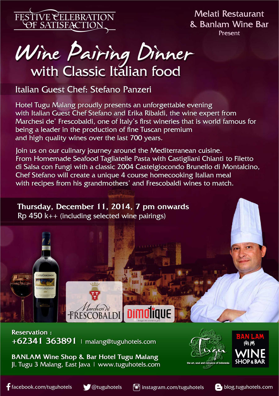 festive celebration of satisfaction - wine pairing dinner with classic italian food (italian guest chef: stefano panzeri)
