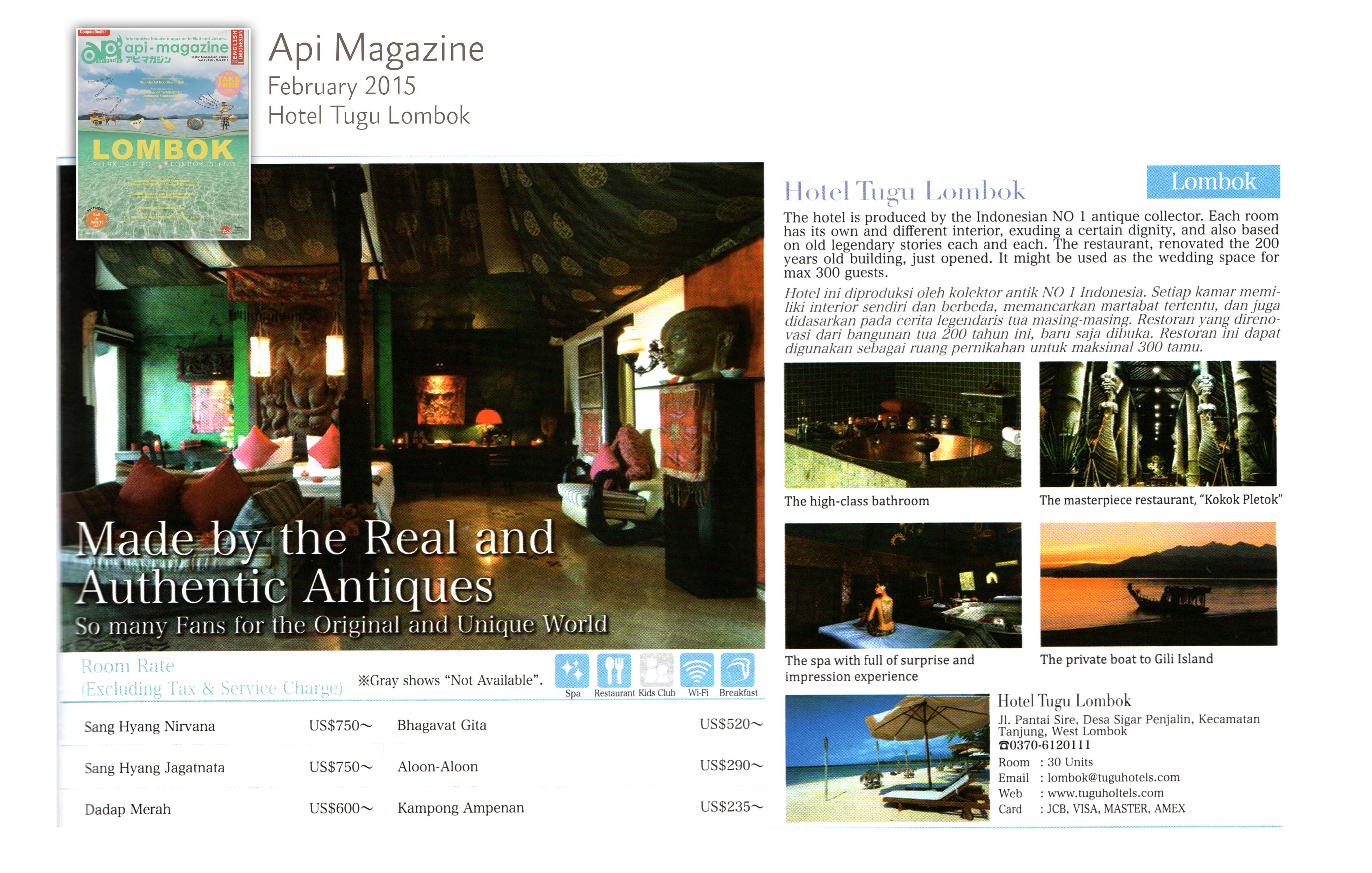 Api magazine F ebruary 2015 Tugu Lombok - made by the real and authentic antiques
