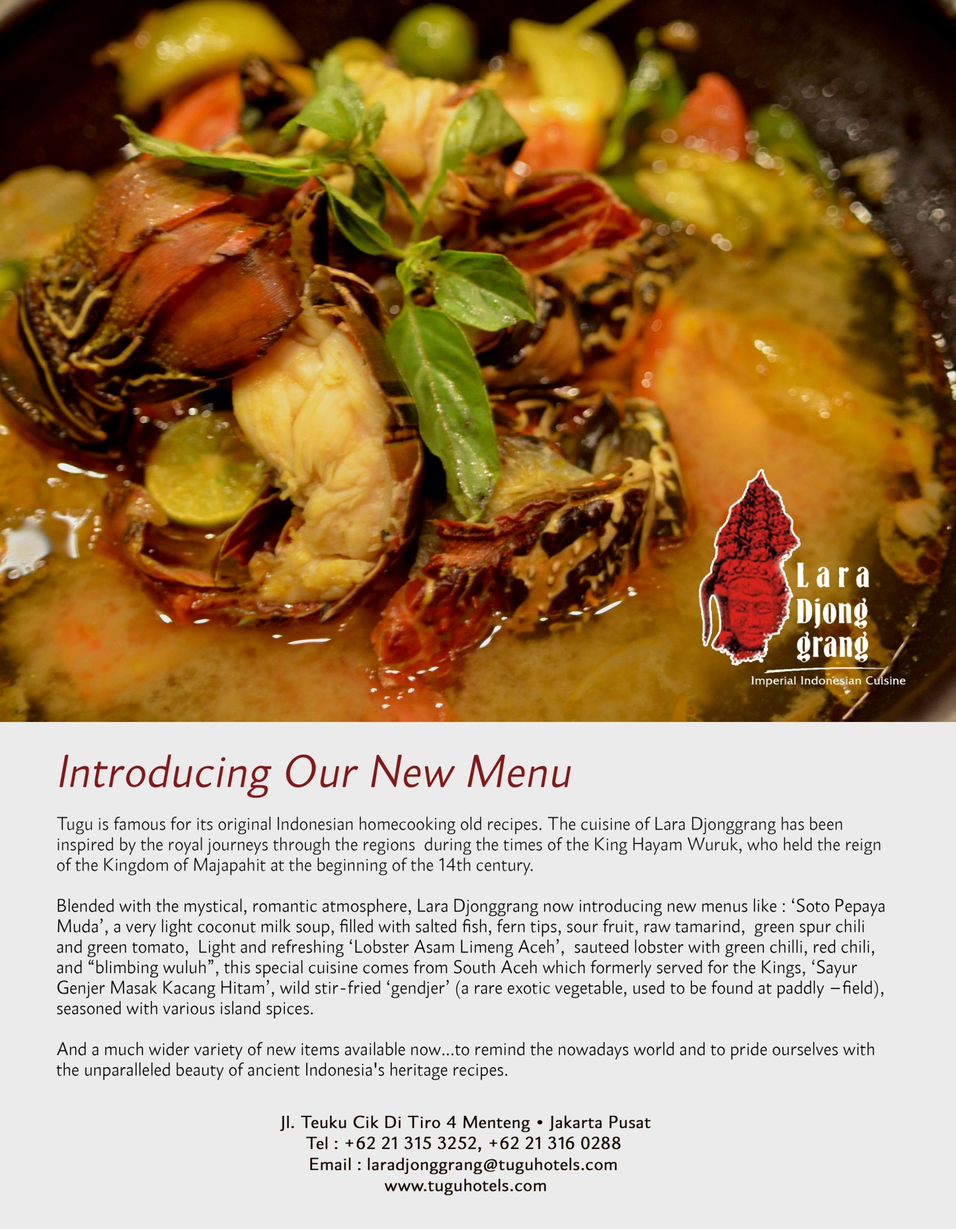 new menus from lara djonggrang restaurants 2015