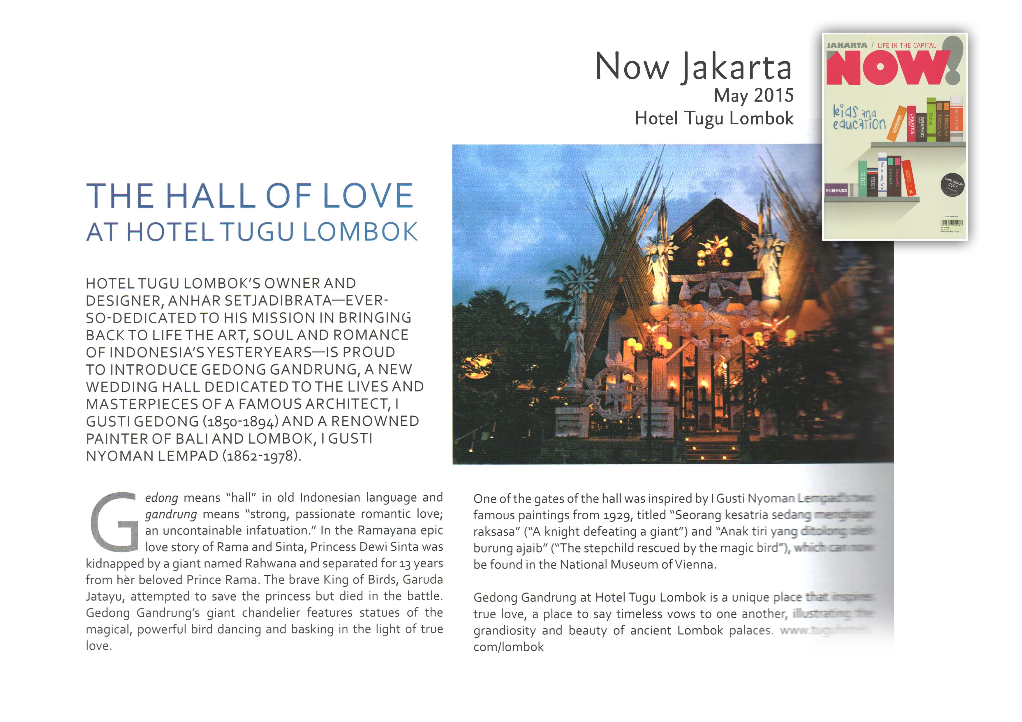 The Hall of Love at Hotel Tugu Lombok - Now Jakarta May 2015
