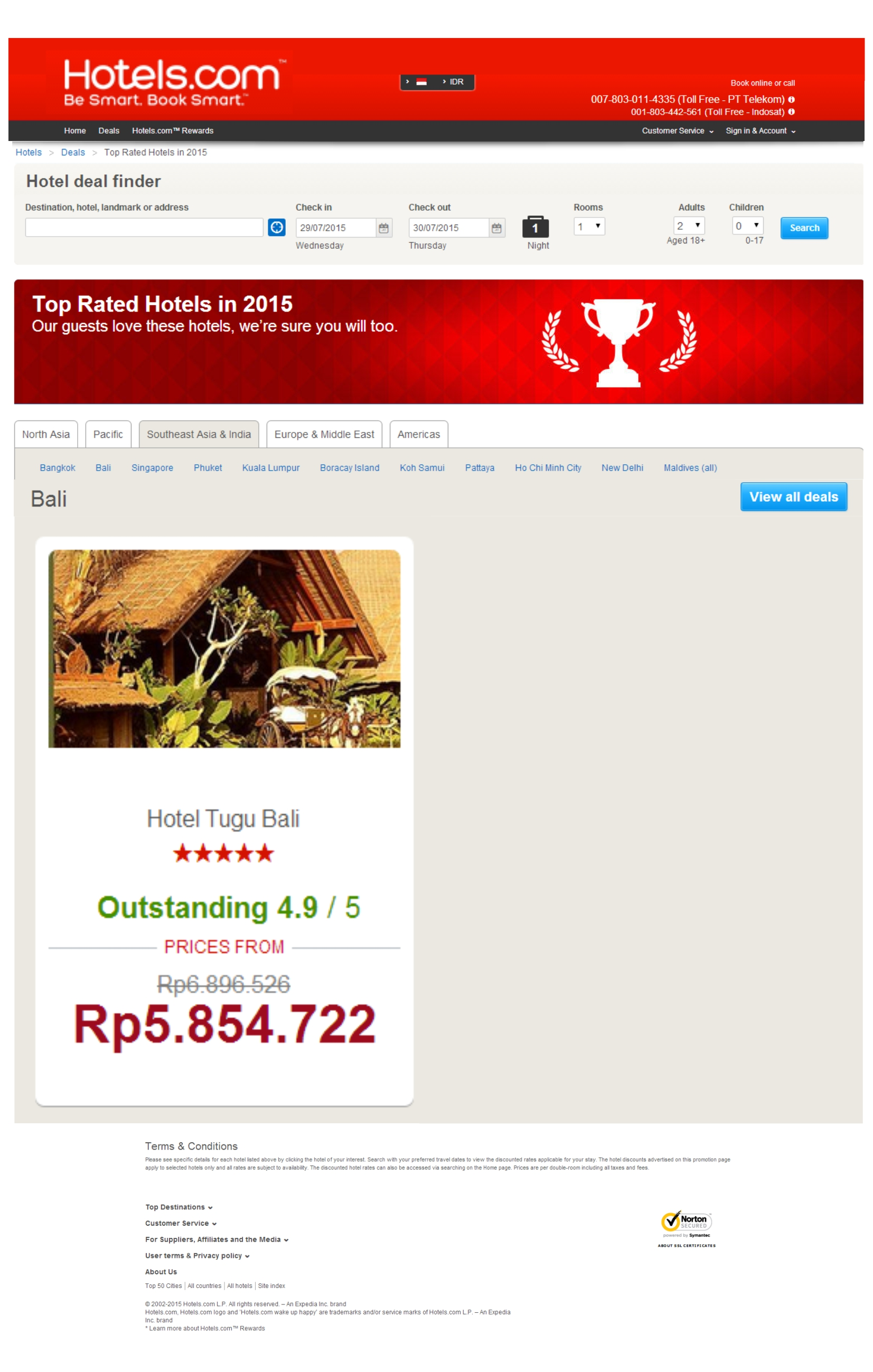 Hotel Tugu Bali as one of the Top Rated Hotels in 2015 - www.hotels.com