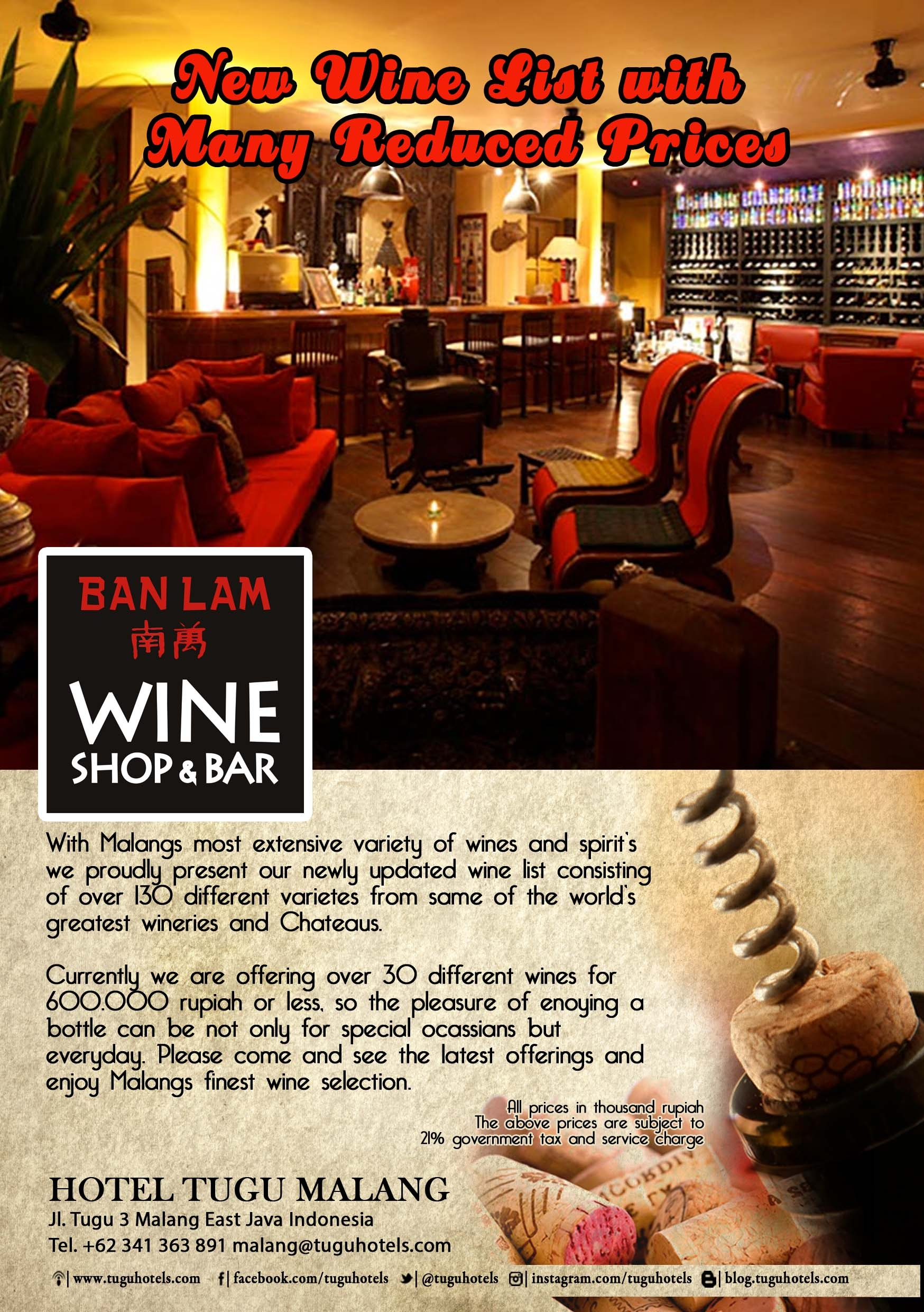 New Wine List with Many Reduced Prices at Banlam Wine Shop & Bar