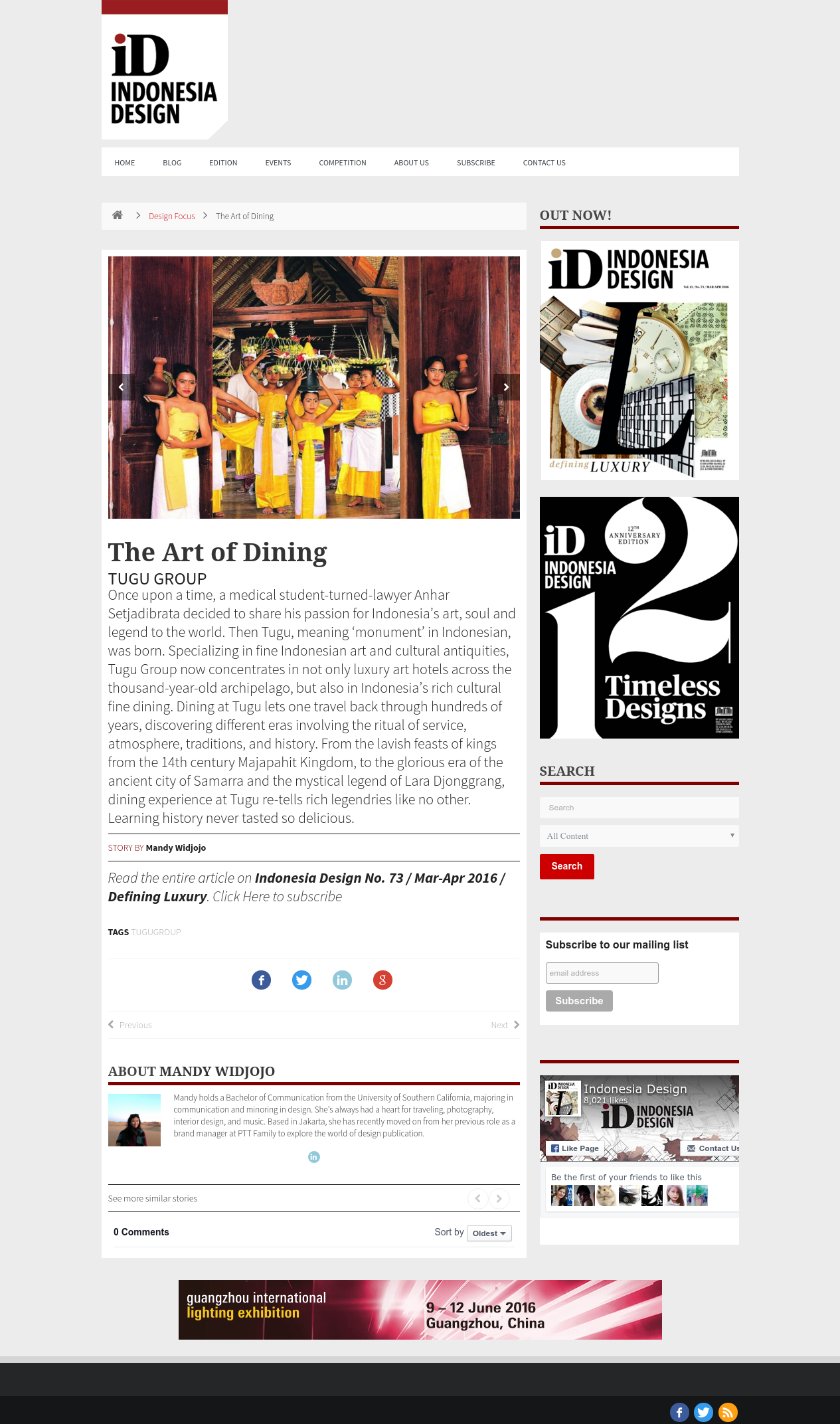 The Art of Dining   Indonesia Design
