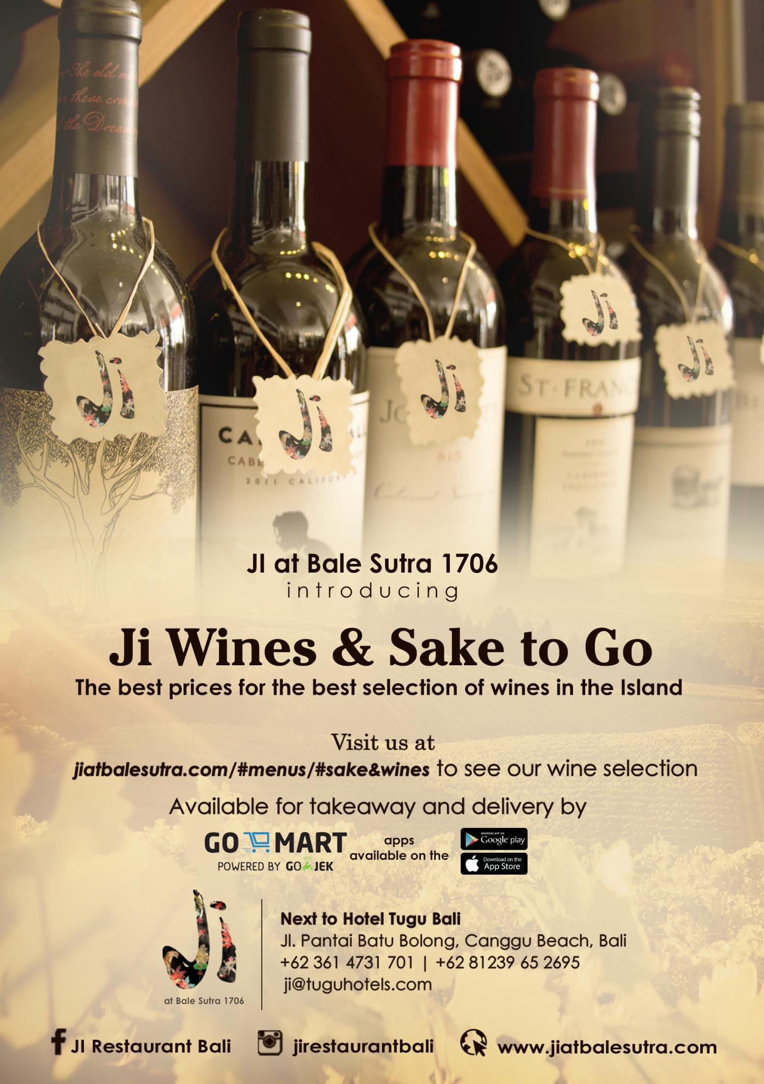JI at Bale Sutra 1706 introducing Ji Wines & Sake to Go. The best prices for the best selection of wines in the Island