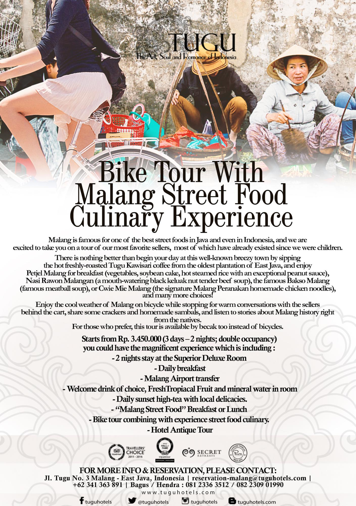 Bike Tour with Malang Street Food Culinary Experience - Hotel Tugu Malang