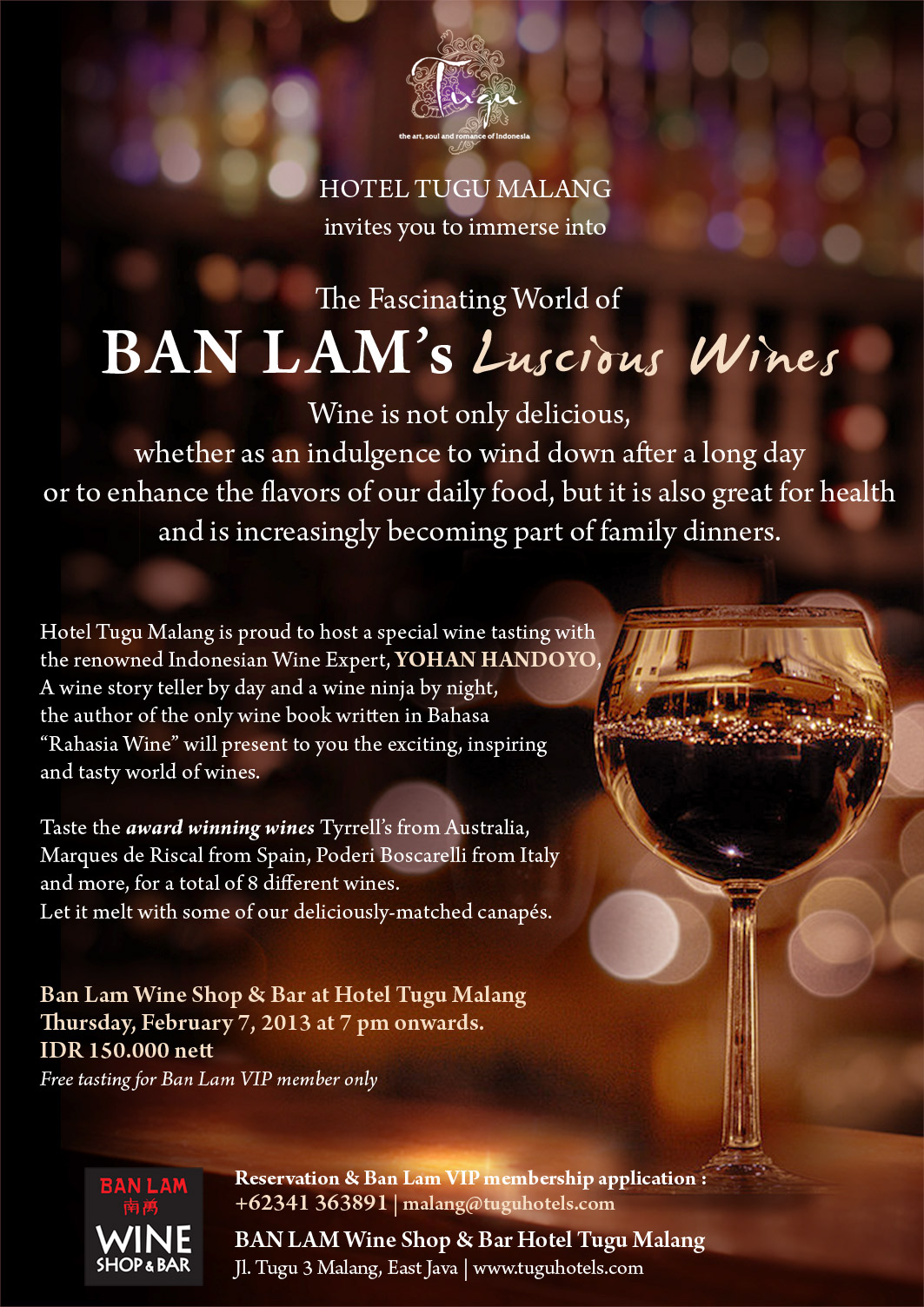 the fascinating world of ban lam's luscious wines at hotel tugu malang