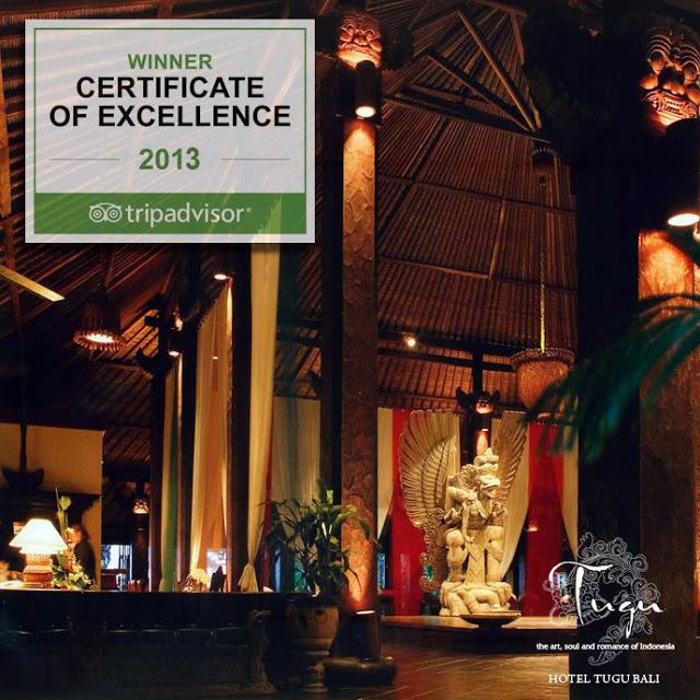 hotel tugu bali - winner certificate of excellence 2013