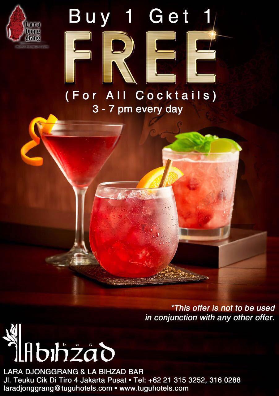 Buy 1 Get 1 Free All Cocktails Tugu Lara Djonggrang